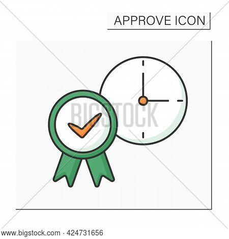 Approve Time Color Icon. Accept Daily Routine Schedule. Time Management. Confirmed Concept. Isolated