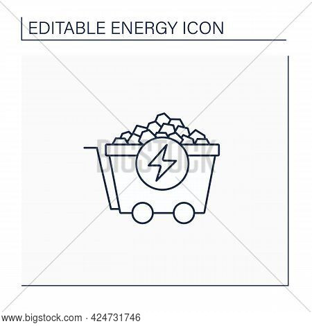 Coal Energy Line Icon. Nonrenewable Energy Source. Fuel To Generate Electric Power. Electricity Conc