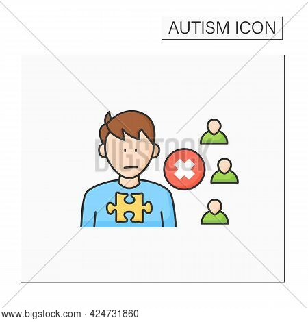 Neurodevelopmental Disorder Color Icon.social Withdrawal.social Isolation.avoiding People And Activi