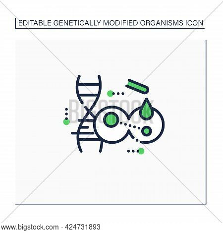 Transgene Line Icon. Gene Transferred From One Organism To Another. Transgenesis. Change In Organism
