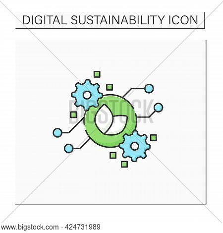 Green Computing Color Icon. Secure Environmental Computing Technologies.eco-friendly Computers Use.
