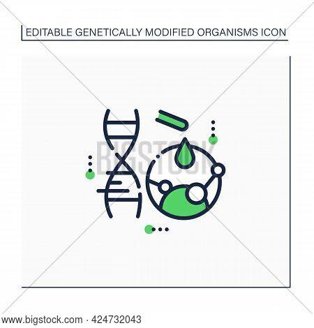 Mutation Gene Line Icon. Artificial Mutation Process. Adding New Materials To Dna. Gene Change. New