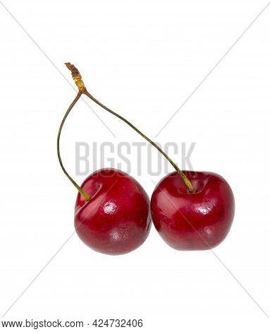 Cherry Fruit On White Background. Sweet Ripe Cherry Isolated.