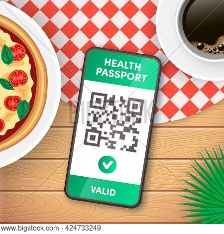 Electronic Covid-19 Immunity Passport Qr Code On Smartphone Screen Vector Concept. Vaccination Or Ne