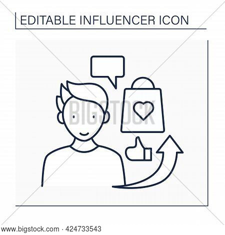 Influencer Advertising Line Icon. Social Media Marketing. Endorsements And Product Mentions. Collabo
