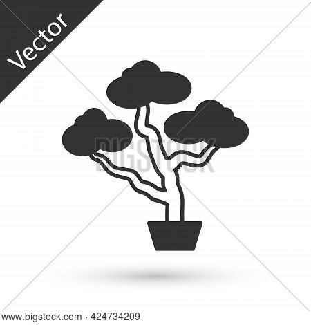 Grey Japanese Bonsai Tree Icon Isolated On White Background. Japanese Culture, Horticulture, Olericu