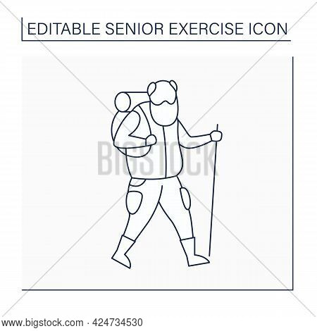 Hiking Line Icon. Vigorous Walk.keeps Muscles In Tonus. Physical Activity. Safety Workout For Older