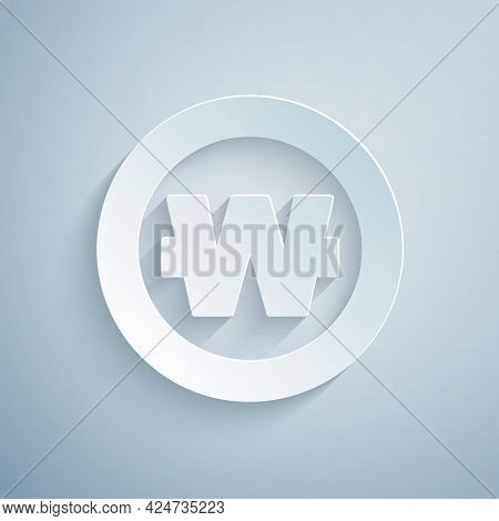 Paper Cut South Korean Won Coin Icon Isolated On Grey Background. South Korea Currency Business, Pay