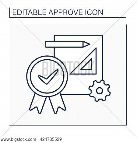 Approve Project Line Icon. Preparation, Submittal, And Approval Of Plans And Specifications. Accept