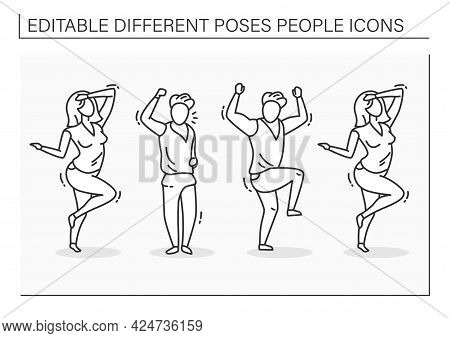 Different Poses People Line Icons Set. Woman And Man Dance, Waving, Unsatisfied People. Raised Arm U