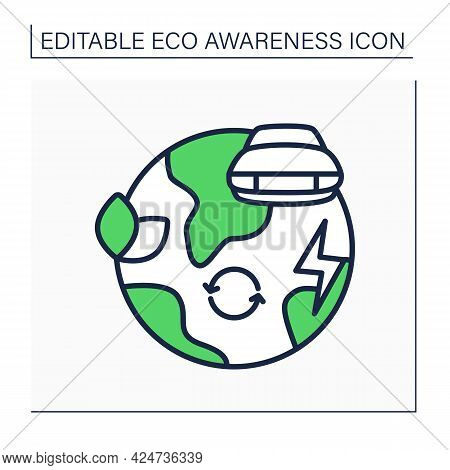 Green Environment Line Icon. Replace Petrol Cars With Environmentally Friendly Cars. Electric Car. M