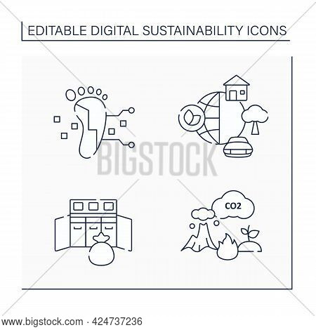 Digital Sustainability Line Icons Set. Global Industrial Innovation, Growth. Footprint, Environment,