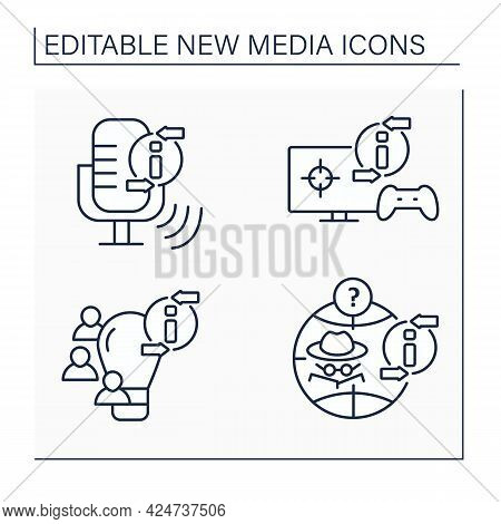 New Media Line Icons Set. Podcast, Video Games, Crowdsourcing. Anonymous Social Network. Information