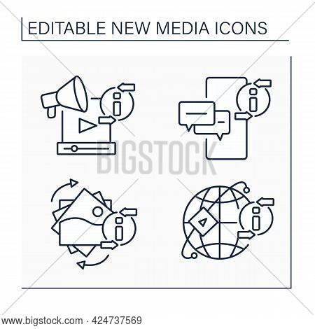 New Media Line Icons Set. Media Sharing Networks, Gifs, Messaging App, Promotion Video. Information