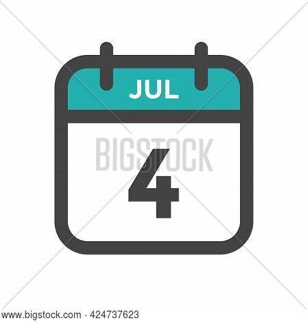 July 4 Calendar Day Or Calender Date For Deadline And Appointment