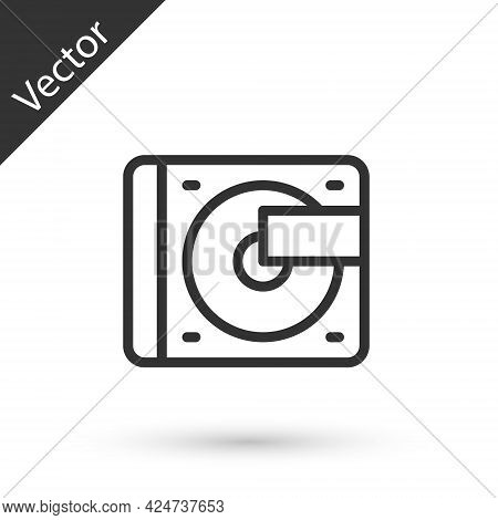 Grey Line Vinyl Player With A Vinyl Disk Icon Isolated On White Background. Vector