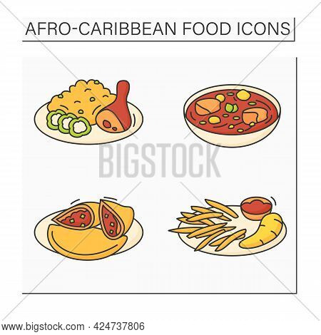 Afro-caribbean Food Color Icons Set. Jollof Rice And Fried Stewed Chicken, Efo Egusi, Meat Pie, Boil