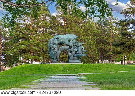 Krasnoyarsk, Russia - June 17, 2021: Sculpture Transformation By The Buryat Sculptor Dashi Namdakov