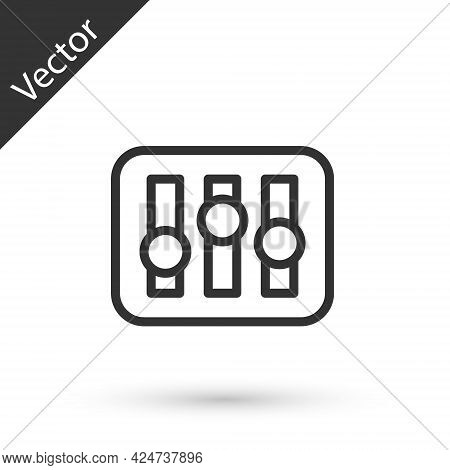 Grey Line Sound Mixer Controller Icon Isolated On White Background. Dj Equipment Slider Buttons. Mix