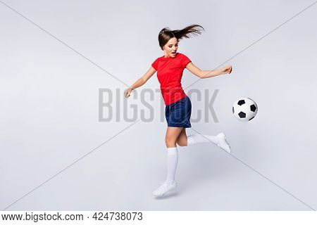 Full Length Profile Photo Of Cool Joy Air Fly Player Soccer Team Kick Ball Exercise Training Jump Ca