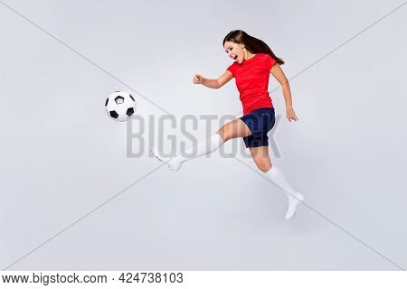 Full Length Profile Photo Of Crazy Air Fly Joy Fun Defender Soccer Team Game Kick Ball Jump Run Pass