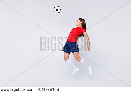 Full Length Photo Of Crazy Air Fly Fun Joy Defender Position Soccer Team Game Jump Up Pass Ball With
