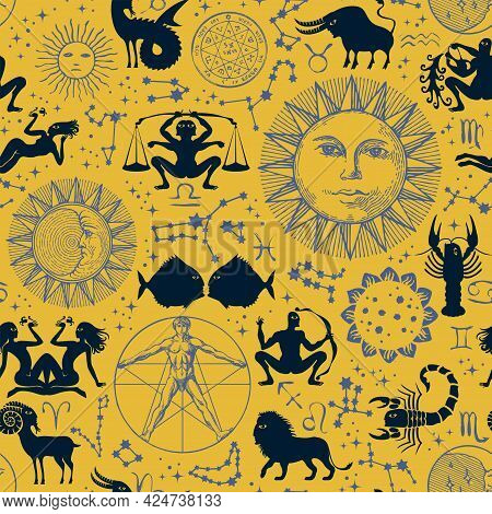 Abstract Seamless Pattern With Horoscope Signs, Zodiac Symbols, Sun, Moon, Stars, Constellations And