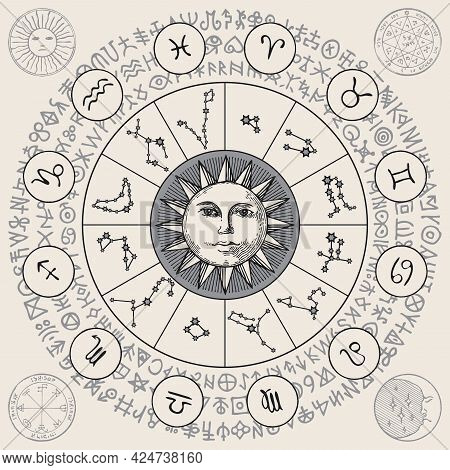 Hand-drawn Circle Of Zodiac Signs With Icons, Constellations, Sun And Magic Runes Written In A Circl