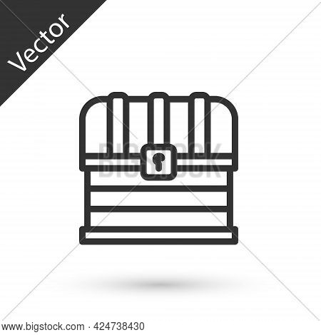 Grey Line Antique Treasure Chest Icon Isolated On White Background. Vintage Wooden Chest With Golden
