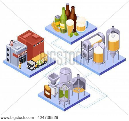 Brewery Beer Production Isometric Composition With Set Of Connected Platforms With Keeves Bottles An