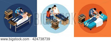 Tattoo Isometric Design Concept Set Of Three Colored Square Illustrations With Artists Working With