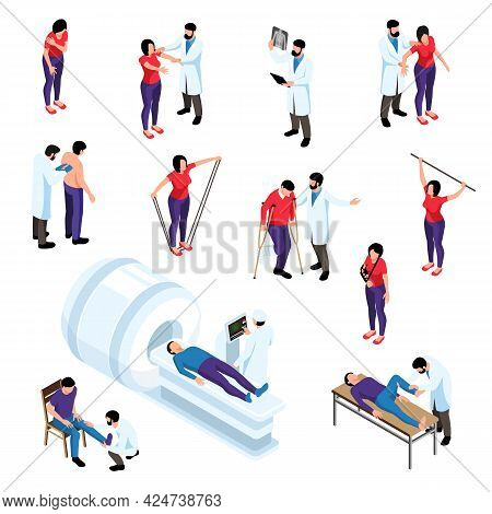 Orthopedic Therapy Isometric Set Of Doctors Examining People With Trauma Isolated Vector Illustratio