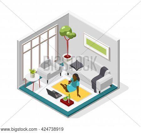 Loneliness Isometric Composition With Black Woman Sitting On Floor Holding Wineglass And Looking In