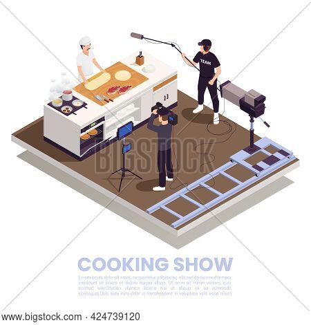 Tv Show Isometric Concept With Cooking Culinary Show Symbols Vector Illustration