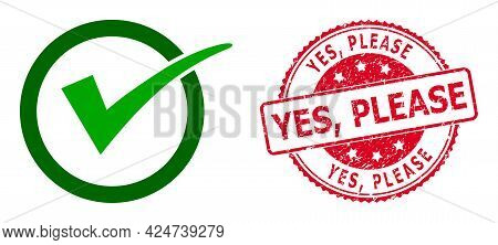 Yes Tick Icon On A White Background. Isolated Yes Tick Symbol With Flat Style.