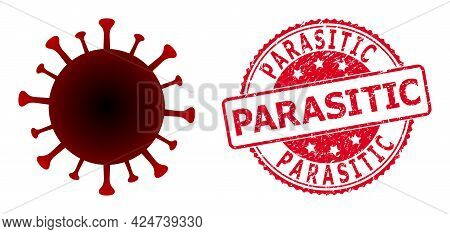 Red Virus Icon On A White Background. Isolated Red Virus Symbol With Flat Style.