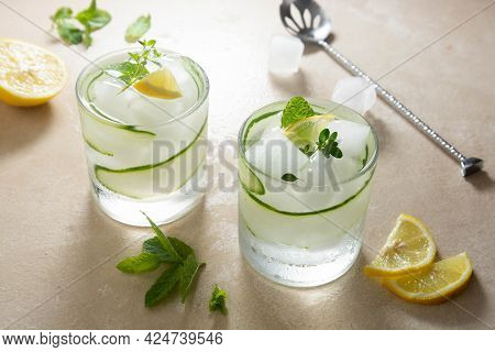 Cold Lemonade With Cucumber, Lemon And Ice. Summer Refreshing Drinks