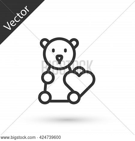 Grey Line Donate Child Toys Icon Isolated On White Background. Charity Kindness, Volunteer Social As