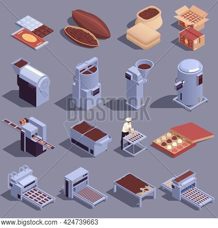 Chocolate Production Isometric Set With Cocoa Beans Refining Grinding Kneading Heating Cooling Machi