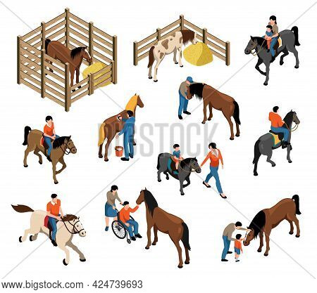 Hippotherapy Isometric Set With Horses In Stable People Contacting With Animals And Riding Horseback