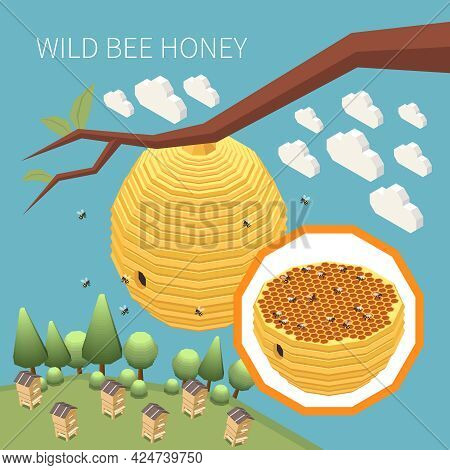 Wild Bee Honey Isometric Background With Bee Hive Nest Hanging On Tree Branch Vector Illustration