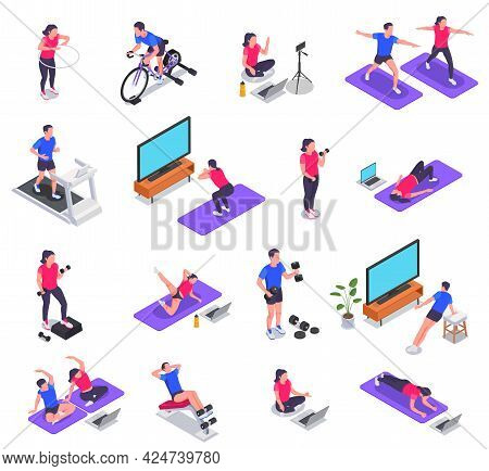 Online Fitness Workout Yoga At Home Isometric Icon Set Group Sports Activities With Help Of Laptop T