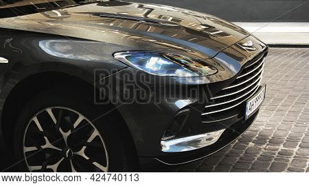 Kiev, Ukraine - May 22, 2021: Aston Martin Dbx Gray Luxury Super Suv Is Parked In The City. Luxury B