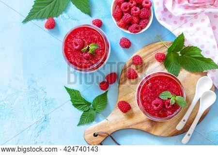 Italian Dessert. Raspberry Panna Cotta With Raspberry Jelly On A Stone Or Concrete Background, Homem