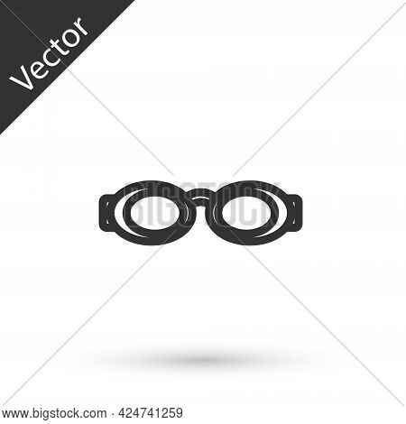 Grey Line Glasses For Swimming Icon Isolated On White Background. Swimming Goggles. Diving Underwate