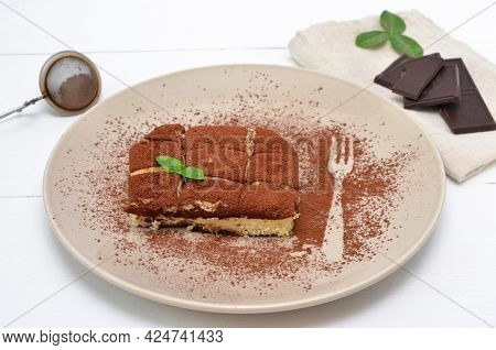 Delicious Italian Tiramisu Dessert On A Plate