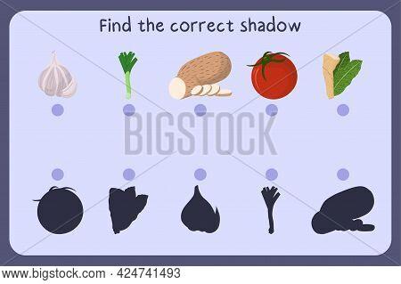 Matching Children Educational Game With Food - Garlic, Leek, Yam, Tomato, Horseradish. Find The Corr