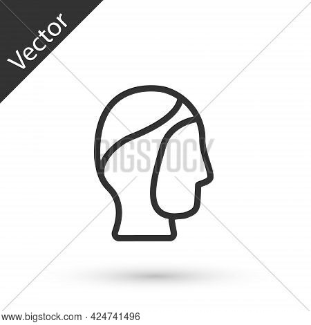 Grey Line Diving Hood Icon Isolated On White Background. Spearfishing Hat Winter Swim Hood. Diving U