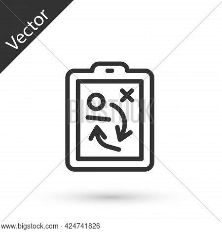 Grey Line Planning Strategy Concept Icon Isolated On White Background. Hockey Cup Formation And Tact