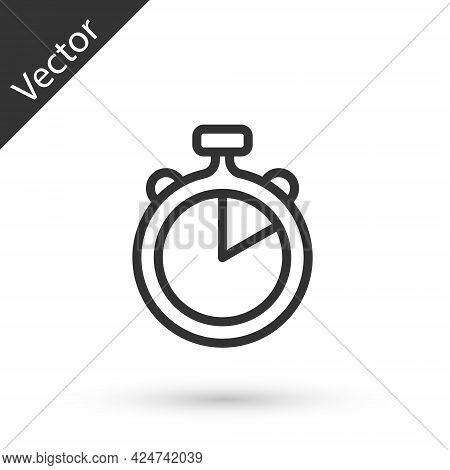 Grey Line Stopwatch Icon Isolated On White Background. Time Timer Sign. Chronometer Sign. Vector